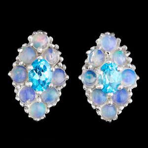 éNergique 100% Natural 7x5mm Swiss Blue Topaz & Ethiopian Opal Sterling Silver 925 Earring