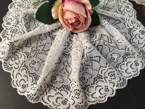 """Laverslace Pálido Gris Plata floral Rosa ancho estiramiento del cordón 6.5/""""//17 Cm"""