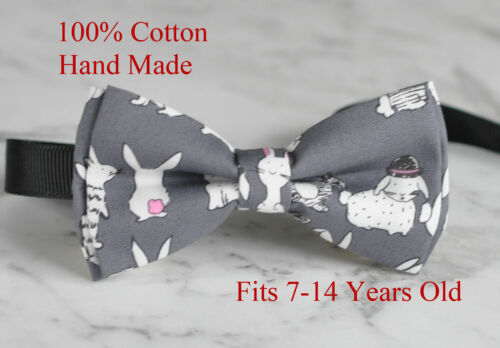 Boy Kids Teenage Rabbits Pattern Cotton Easter Bunny Grey Bow Tie  7-14Years Old