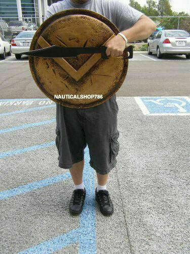 Réplica completamente funcional histórico 24/' Medieval Escudo De Armadura De sólo 300 Spartan