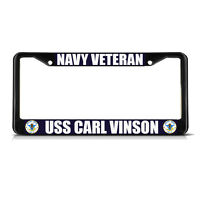Navy Veteran Uss Carl Vinson Black Metal Heavy License Plate Frame Tag Border