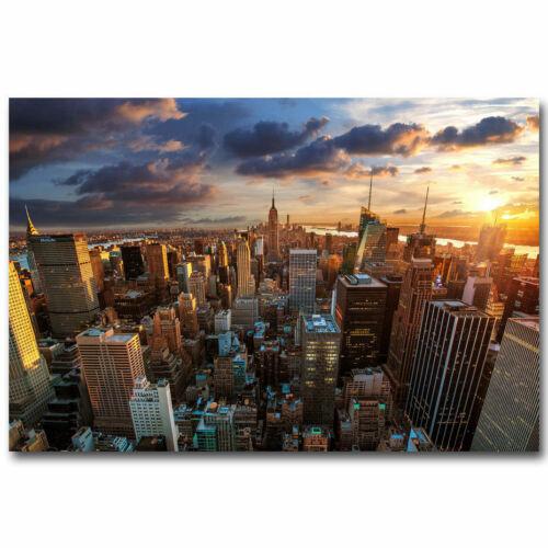G-162 Sunset New York City Skyline Cityscape Fabric Poster 12x18 24x36 27x40