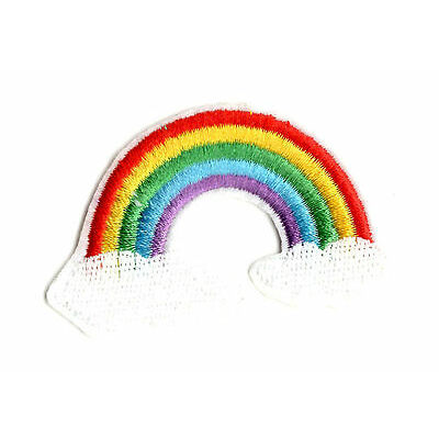 CLOUDS AND RAINBOW IRON ON / SEW ON PATCH Embroidered Badge Motif PEACE PT45