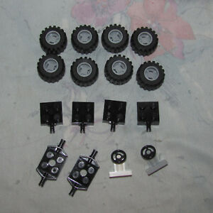 LEGO LOT OF 20 GREY HUBS AND BLACK CASTLE TRUCK WHEELS PIECES