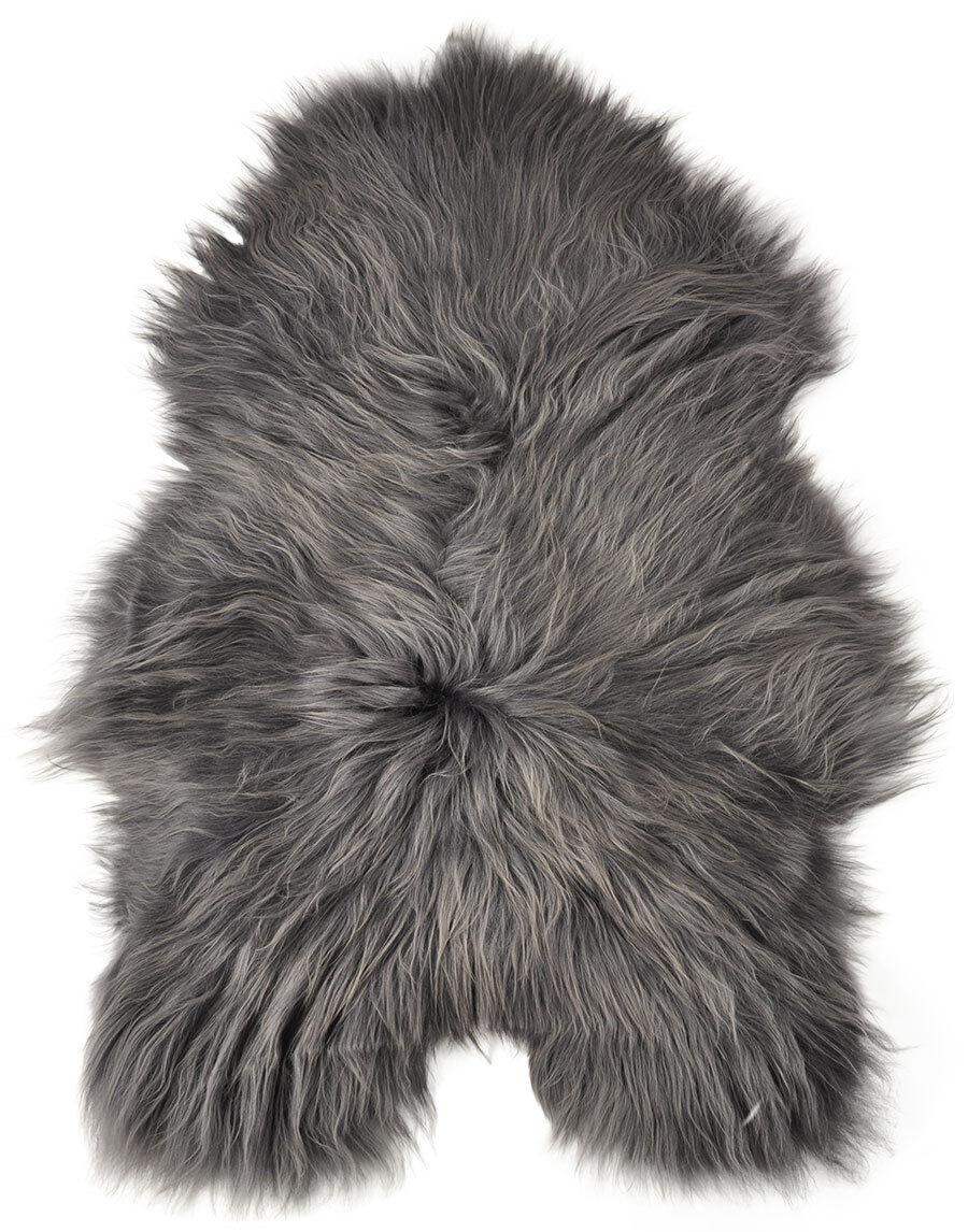 Öko Lammfell Lammfell Lammfell grau gefärbt 100 x 60 cm langwollig ökologische Gerbung 2830ca