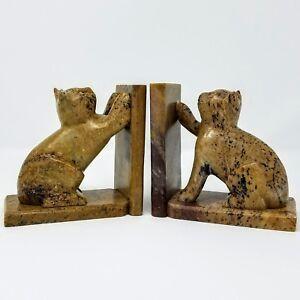 Image Is Loading Carved Soapstone Cat Bookends Heavy Door Stops Feline