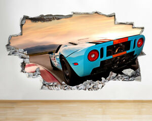 Wall Stickers Blue Sports Car Sunset Scenic Smashed Decal 3D Art Vinyl Room D485