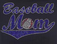 Rhinestone Baseball Mom In Blue Iron-on Transfer, Tanktops, 9.5x6 Inches