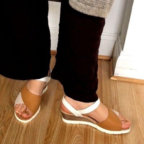 Women Tan Gladiator Wedge Platform Slip Mule Sling Sandal Touch Fasten Shoe Size
