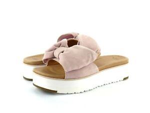 30c37147185 UGG Women s Joan Slide Pink Suede Leather Bow Strap Flat Platform ...