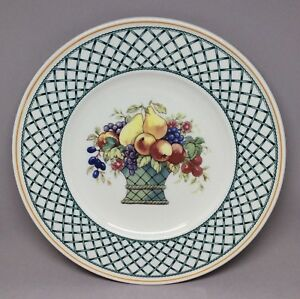 Villeroy-Boch-Germany-Basket-1-Dinner-Plate-10-5-Inch-Fruit-Green-Lattice-1160