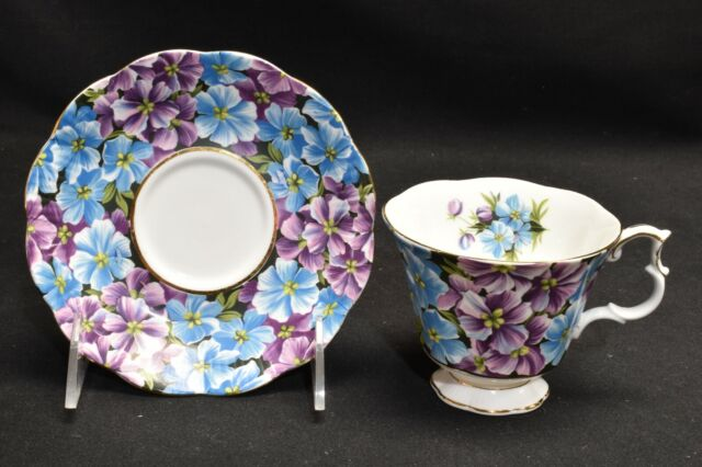 Royal Albert Angela Blue Purple Flowers Cup & Saucer
