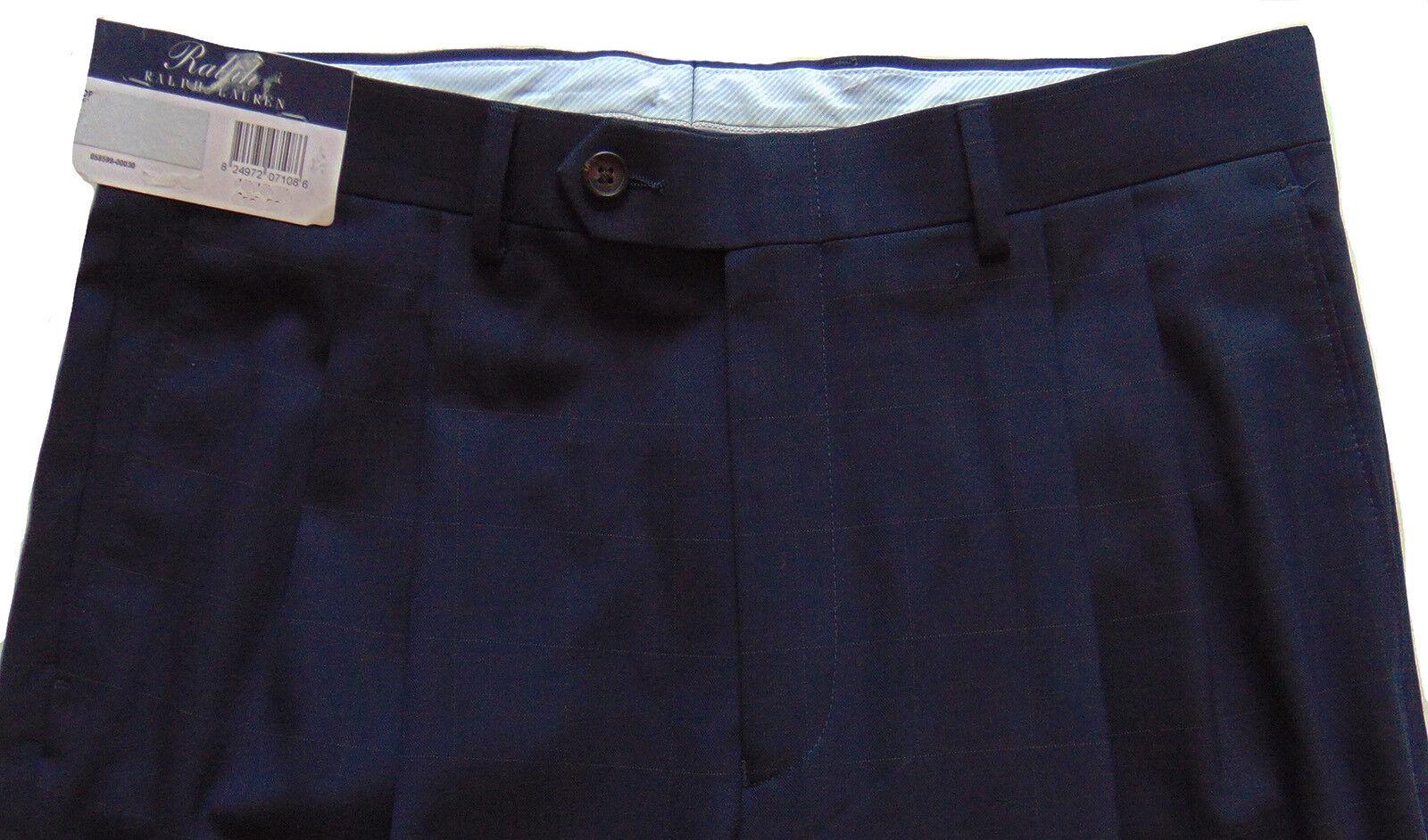 Men's RALPH LAUREN Navy bluee Pleated Plaid Dress Pants 32x32 NWT NEW -009 Nice