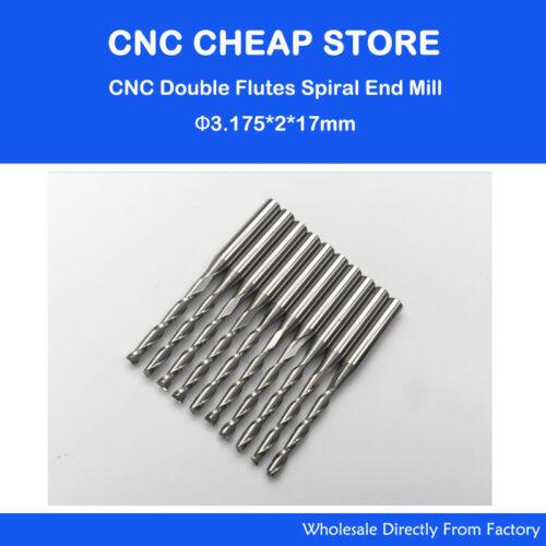 10pcs 3.175mm Carbide endmill double flute spiral CNC router bits 2x17mm 1//8/'/'