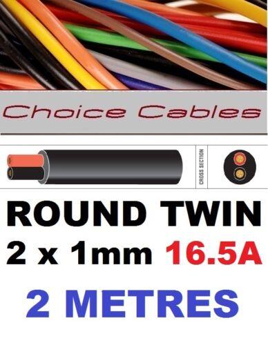 16,5 Amp Auto Barco Telar de alambre Marina Cable 2m Ronda Twin Auto Cable 2 Core 1.0 mm