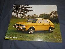 1975 VW Volkswagen Golf Rabbit USA Market Color Brochure Sheet Prospekt