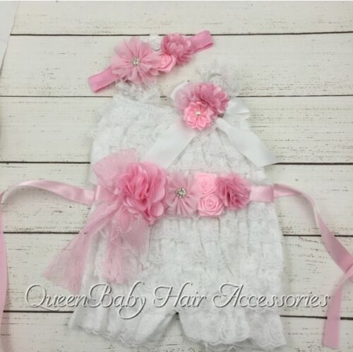 ★★★ NEU Baby Fotoshooting Set 4Tlg. Rüschenbody Gürtel & Stirnband & Clip★★★Nr.E