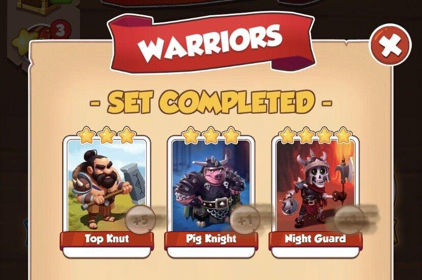 Warriors Full Set No Golds Coin Master Pig Night Night Guard Top Knut