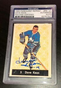 DAVE-KEON-SIGNED-TORONTO-MAPLE-LEAFS-1993-PARKHURST-REPRINT-ROOKIE-CARD-PSA-DNA