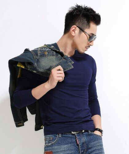 Fashion Men/'s Long Sleeve Casual Cotton Blend Basic Muscle Tee Slim Shirt Tops