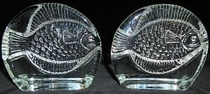 Mid-Century-JOEL-MYERS-Blenko-Art-Glass-HAND-CRAFTED-FISH-BOOKENDS-Nice