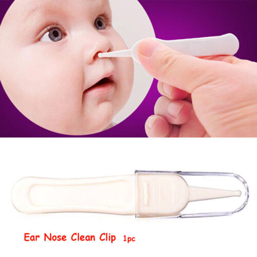 White Baby Dig Booger Clip Clean Ear Nose Navel Tweezers Babies Safety Forceps