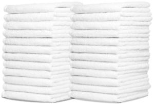 24 PACK! Bath Towels 100% Cotton White 12x12 Hand Face Bathroom Clean Sheet