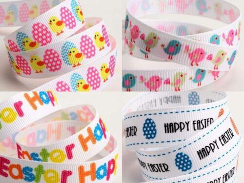 Easter Grosgrain Ribbon 9 /& 16mm x 5m Happy Easter Eggs Chicks Birds  Free P/&P