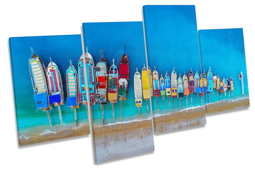 Boats Seascape Aerial Blau Framed MULTI CANVAS PRINT Wall Art
