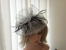 SILVER/GREY  & BLACK CRIN /NETTING/ FASCINATOR WEDDING,ASCOT, CAN BE CUSTOM MADE