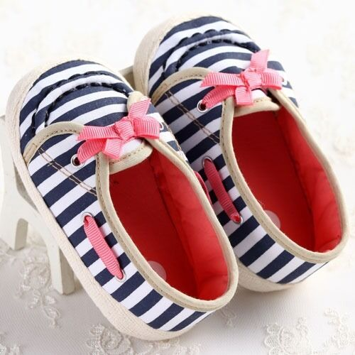 NEW Anti-slip Baby Boy Girl Toddler Girl Crib Stripe Shoe Infant 0-18 Month #BS6