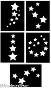 5 X Stars Glitter Tattoo Stencils Great For Parties Ebay