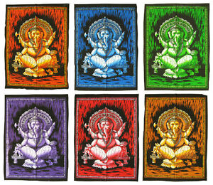 GANESH-Lord-Ganesha-Ganapati-Wandbehang-Stoffbild-Indien-75-x-105-cm-GOA
