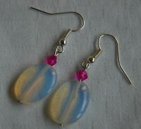 Unique handmade oval opalite & pink crystals silver plated earrings + stoppers