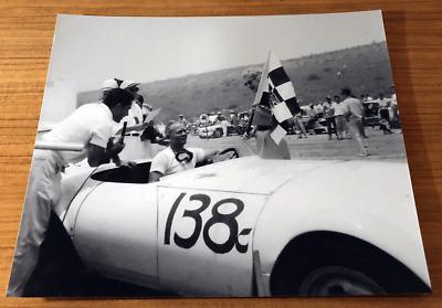 1950s 8 x 10 print Chuck Daigh wins at Hansen Dam Road Races