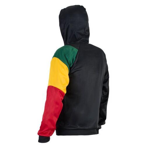 Rasta Maglione Reggae Con Zip Cjamaica Giacca Colori Cappuccio Felpa Africa TTBZr