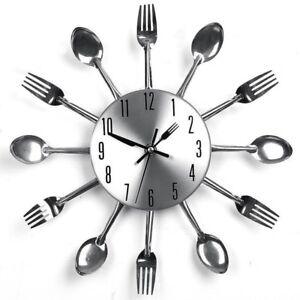 Orologio da parete in metallo per cucina con forchette e cucchiai ...