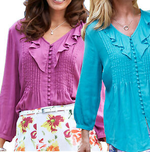 UK-Size-12-20-Ladies-Blouse-Top-in-Turquoise-or-Cerise-Purple