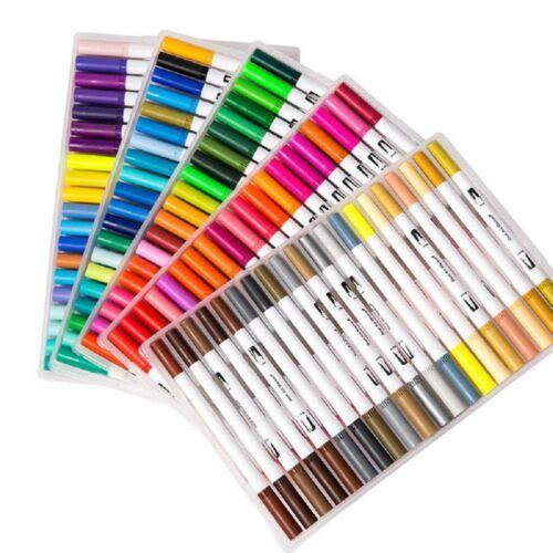 Dual Tips Fine Brush Sketch Marker Pen Water Based Ink Watercolor Paintbrush