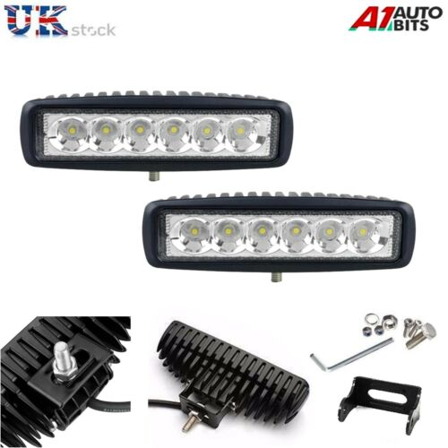 2X 12V 24V 18W LED WORK LAMP FLOOD BEAM LAMP LIGHT COMMERCIAL VEHICLES UNIVERSAL