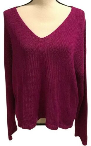 Details about  /Eileen Fisher Cerise Peruvian Organic Cotton V-Neck Sweater Size Large $238