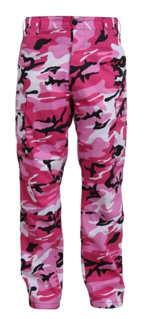 Mens Pink Camouflage Military BDU Cargo Bottoms Fatigue Trouser Camo Pants 79fe3a606b0
