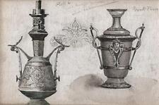 Diseños para una lámpara de aceite en la manera griego Victoriano Acuarela Pintura c1880
