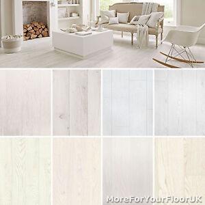 White Wood Plank Vinyl Flooring Realistic Style Flooring Lino