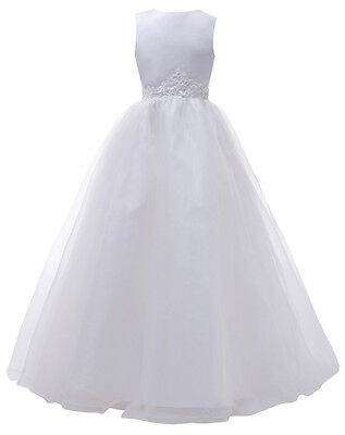 White Flower Girl dress Princess Pageant Wedding Party Bridesmaid Birthday Dress