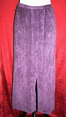 """SAHARA Long Purple Velvety Skirt Waist 36""""- 42"""" M Textured Straight Vent Elastic"""
