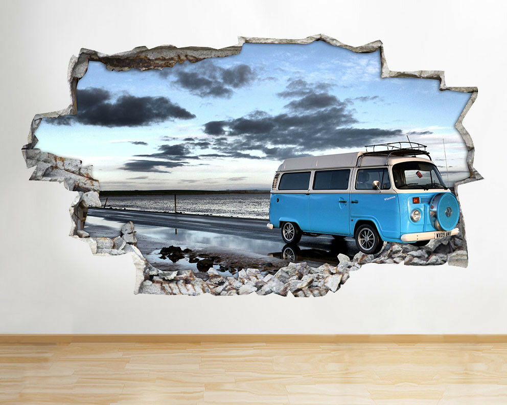 D051 bleu Camper Van Roadtrip mer Smashed  Autocollant Chambre 3D Vinyle enfants