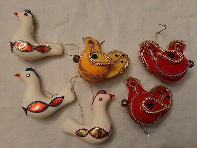 Vintage Mica Styrofoam Bird Ornament Decoration Made in Japan 6 Lot