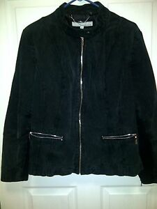 Wilsons Leather Womens Size 2X Knit Inset Suede Leather Zipper Sleeves & Pockets