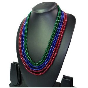 TOP-SELLING-540-00-CTS-NATURAL-RUBY-EMERALD-amp-SAPPHIRE-BEADS-NECKLACE-GEM-EDH